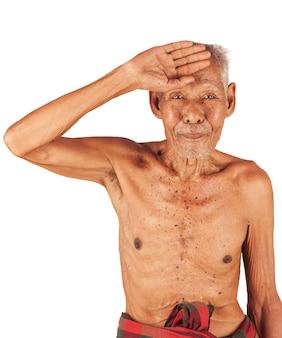 Velho doente, dor de cabeça mão na testa