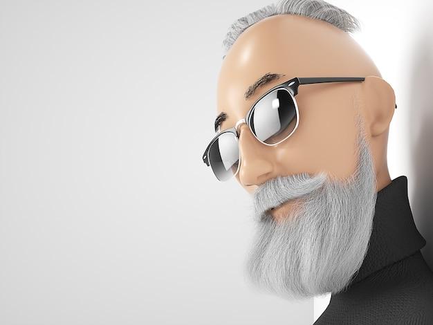 Velho hipster com personagem de desenho animado estilizado de barba. renderização 3d