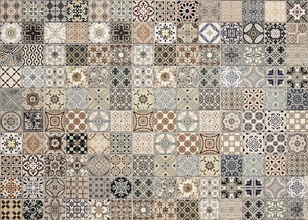 Velho, parede, azulejos cerâmicos, padrões, handcraft, de, tailandia, parques, público