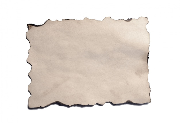 Velho pedaço em branco do antigo manuscrito de papel em ruínas vintage ou pergaminho