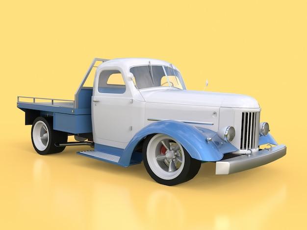 Velho restaurado branco e azul carro amarelo