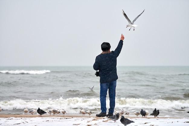 Velho solitário alimentando gaivotas, gaivotas e outros pássaros no mar