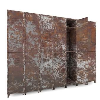 Velhos armários vazios isolados em fundo branco
