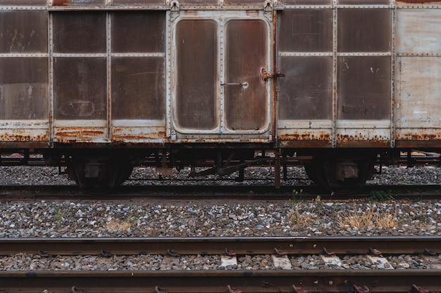 Velhos, trem, destruites, esquerda, esperando, reparos