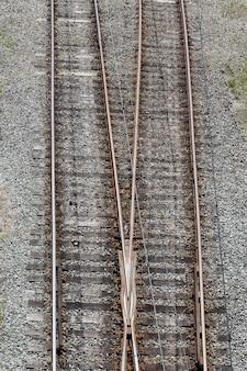 Velhos trilhos de trem vistos de cima
