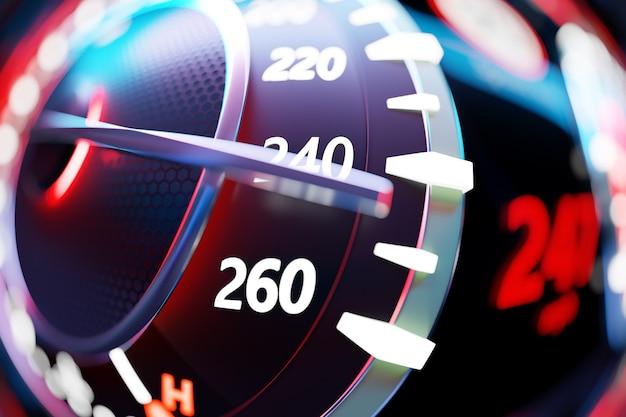 Velocímetro mostra uma velocidade máxima de 247 km h, tacômetro com luz de fundo vermelha.