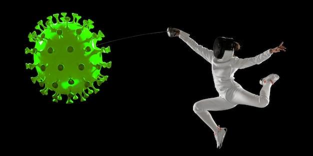 Vença a doença. esgrima desportista chutando, socando coronavírus, conceito de proteção e tratamento. tratamento do coronavírus chinês. cuidados de saúde, medicina, esporte e atividade durante a quarentena. folheto.