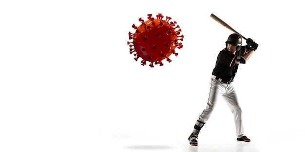 Vença a doença. esportista beisebol chutando, socando coronavírus, conceito de proteção e tratamento. tratamento do coronavírus chinês. cuidados de saúde, medicina, esporte e atividade durante a quarentena. folheto.