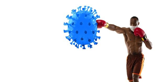Vença a doença. esportista boxeador chutando, socando coronavírus, conceito de proteção e tratamento. tratamento do coronavírus chinês. cuidados de saúde, medicina, esporte e atividade durante a quarentena. folheto.