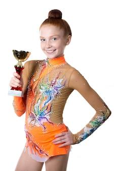 Vencedor atleta, menina, dourado, cálice