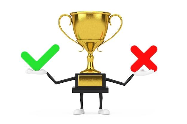 Vencedor do prêmio dourado troféu mascote personagem personagem com cruz vermelha e marca de seleção verde, confirmar ou negar, sim ou não ícone sinal sobre um fundo branco. renderização 3d