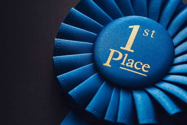 Vencedor, primeiro lugar, azul, fita, recompensar
