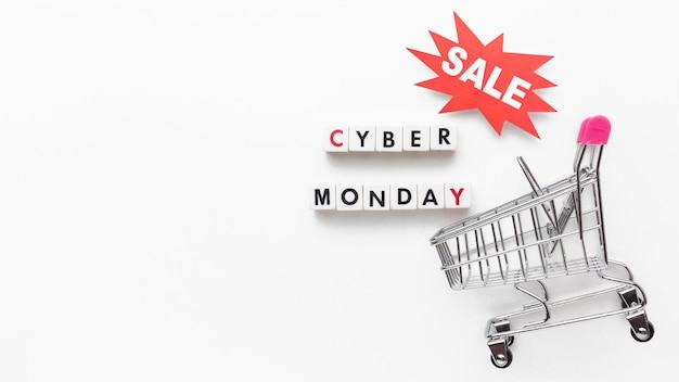 Venda cibernética de segunda-feira e cópia da bandeja de compras