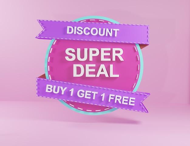 Venda de adesivo roxo de renderização 3d com super venda de estilo de forma abstrata e desconto no preço do distintivo