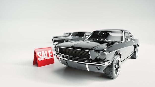 Venda de carro preto e outdoor. renderização 3d e ilustração.