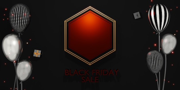 Venda de loja de banner de sexta-feira negra com presentes e balões ilustração 3d