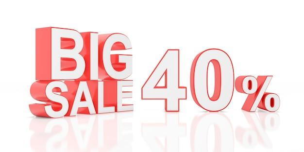 Venda de quarenta por cento. grande venda para banner do site. renderização em 3d.