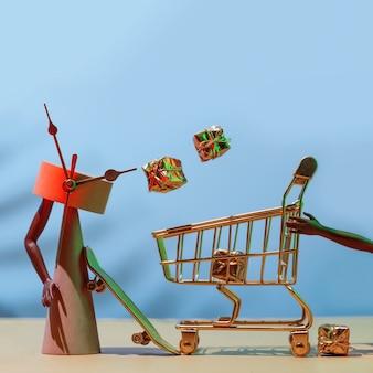 Venda de sexta-feira negra - conceito futurista de compras de férias, tempo de compras.