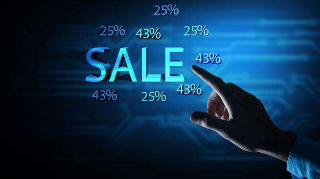 Venda percentual de desconto% venda de texto.