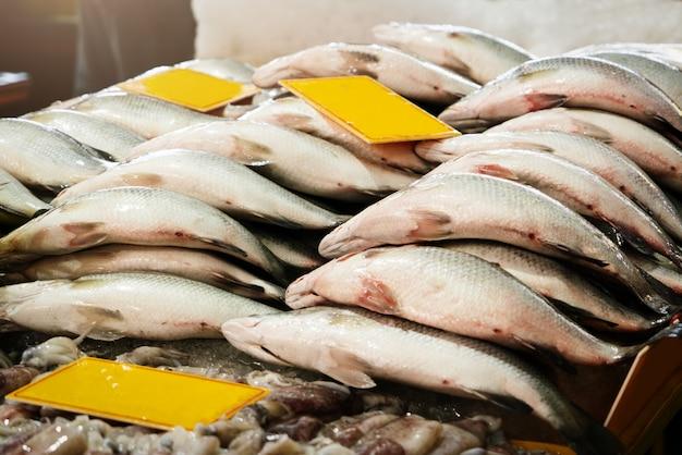 Vendedor do mercado de produtos frescos, alimento cru fresco do marisco dos peixes