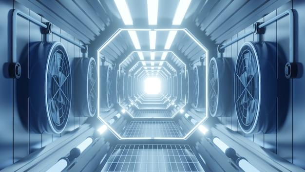 Ventilação do túnel do corredor com luzes de néon azuis
