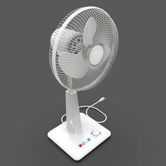 Ventilador elétrico branco. modelo tridimensional em um fundo cinza. ventilador com botões de controle no suporte. um dispositivo simples para ventilação de ar. ilustração 3d.