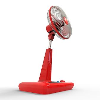 Ventilador elétrico vermelho. modelo tridimensional em uma superfície branca. ventilador com botões de controle no suporte. um dispositivo simples para ventilação do ar