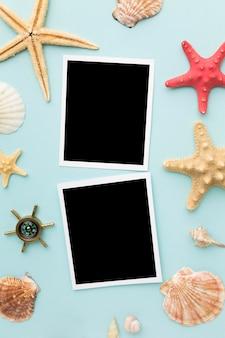Ver fotos instantâneas com estrelas do mar em cima da mesa