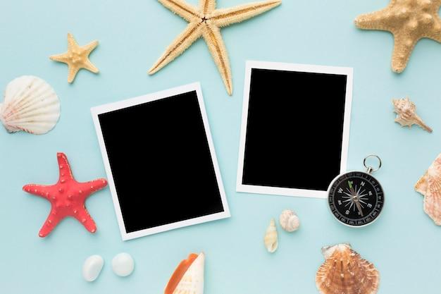 Ver fotos instantâneas em cima da mesa