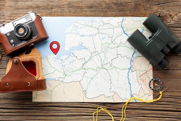 Ver mapa superior com binóculos