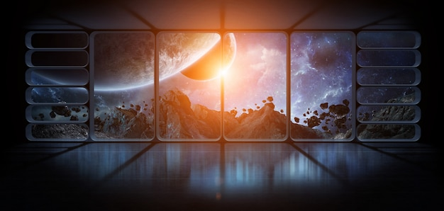 Ver os planetas de uma enorme janela de nave espacial elementos de renderização 3d da imagem fornecida pela nasa