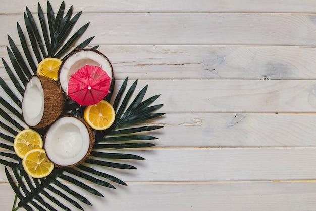 Verão, frutas, palma, folhas, madeira, superfície