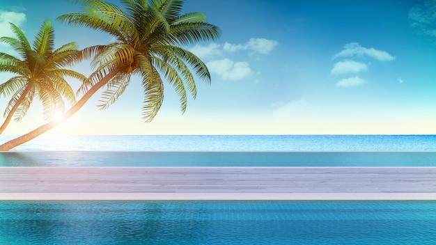 Verão relaxante, deck para banhos de sol e piscina privada com praia perto