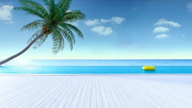 Verão relaxante, deck para banhos de sol e piscina privativa com vista para a praia e para o mar