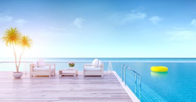 Verão relaxante, lounge de praia, deck para banhos de sol e piscina privativa
