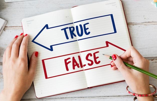 Verdadeiro falso escolha palavra de decisão