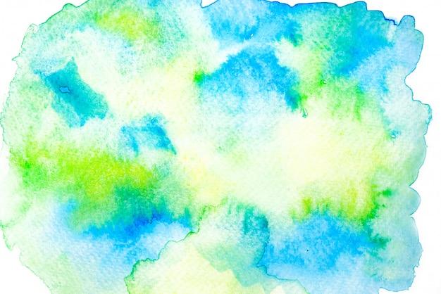 Verde, azul e amarelo aquarela mancha fundo de traço de tinta