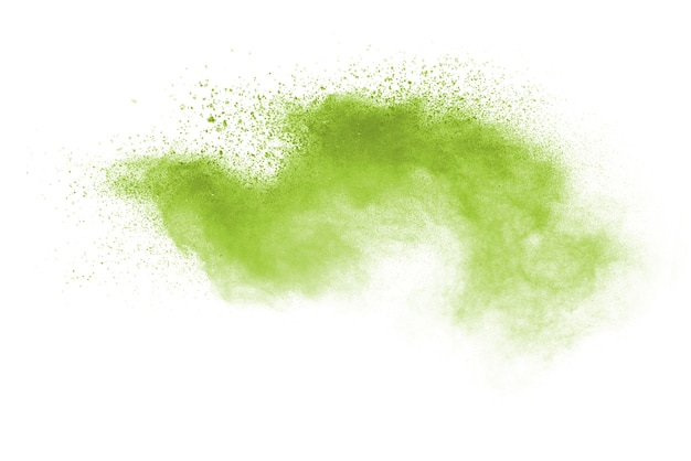 Verde colorido salpicado sobre fundo branco.