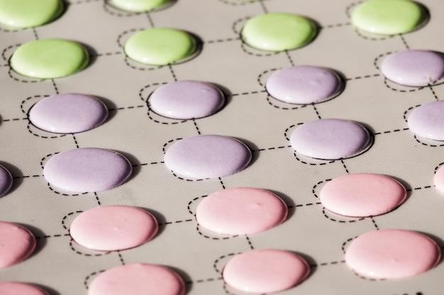 Verde; conchas de macaroons de rosa e roxas em um tapete de deslizamento
