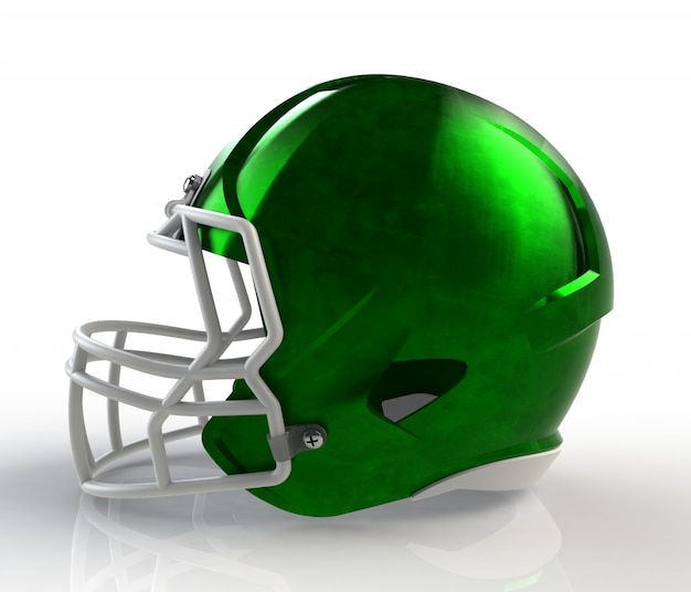 Verde escovado galvanizado vista lateral de capacete de futebol americano em um fundo branco
