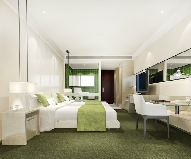 Verde moderno e luxuoso quarto suíte, banheiro e mesa de trabalho