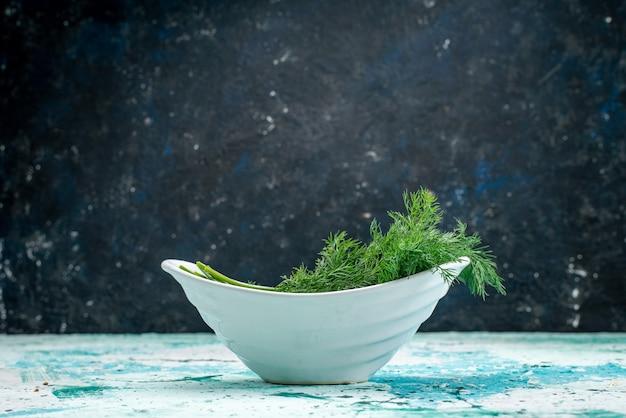 Verduras frescas dentro do prato em verde-azulado