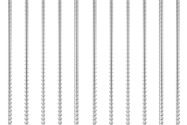 Vergalhões de aço de reforço metálico em um fundo branco. renderização 3d.