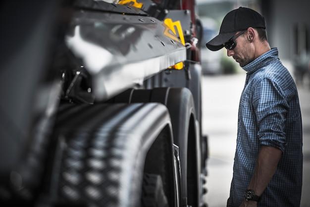 Verificação de carga de motorista de caminhão