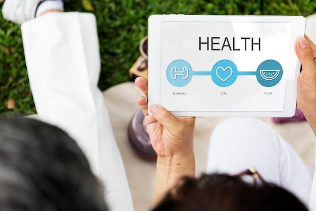 Verificação de saúde online no tablet