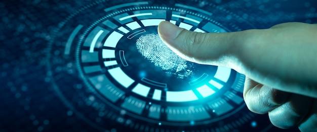 Verificação tecnológica avançada futura e autenticação e identidade biométrica cibernética