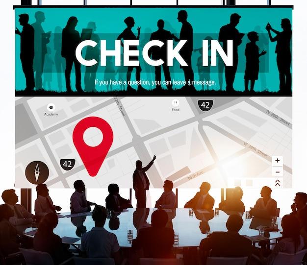 Verifique no conceito de navegação de marca de localização