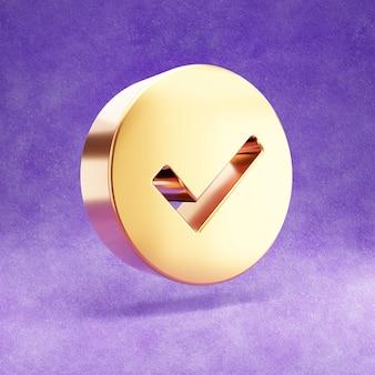 Verifique o ícone isolado em veludo violeta