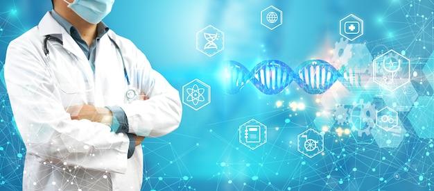 Verifique o médico com a análise genética do dna do cromossomo humano na interface virtual. conceito de ciência médica, ilustração 3d