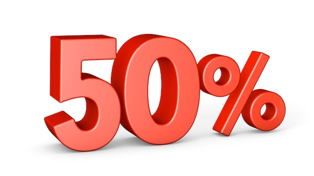 Vermelho 50 por cento isolado no fundo branco. desconto de cinquenta por cento. renderização 3d.